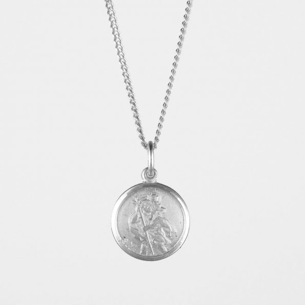 Small St Christopher Necklace Silver