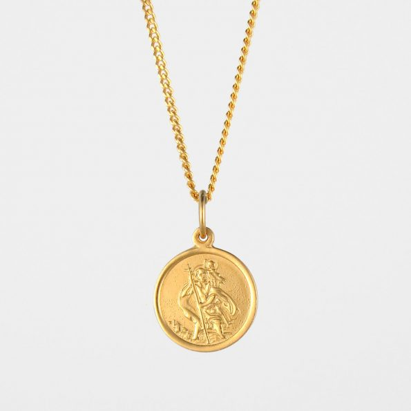 Small St Christopher Necklace Gold Vermeil
