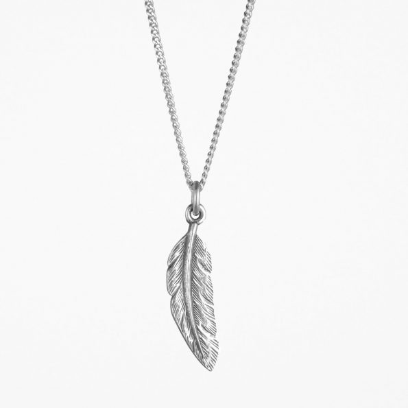 Small Feather Necklace Silver