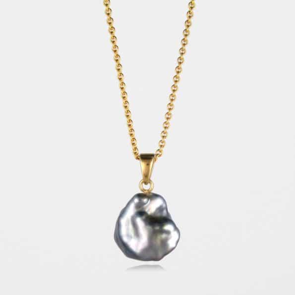 Large Black Pearl Necklace Gold Vermeil