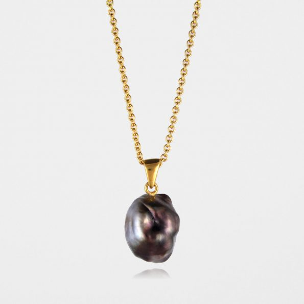 Large Black Pearl Necklace Gold Vermeil