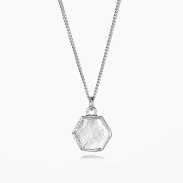 Small Hexagon Necklace Silver