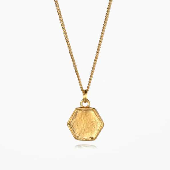 Small Hexagon Necklace Gold Vermeil