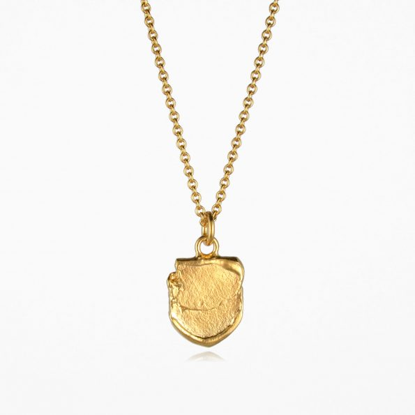 Small Shield Necklace Gold Vermeil