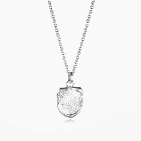 Small Shield Necklace Silver
