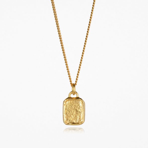 Small Tag Necklace Gold Vermeil