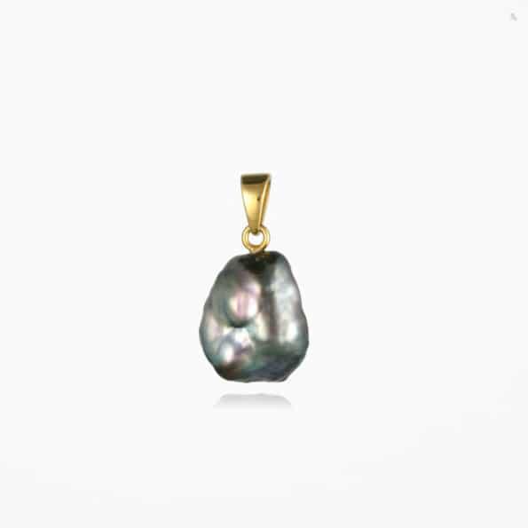 Large Black Pearl Pendant #2 Gold Vermeil
