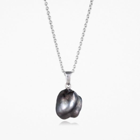Large Black Pearl Necklace Silver