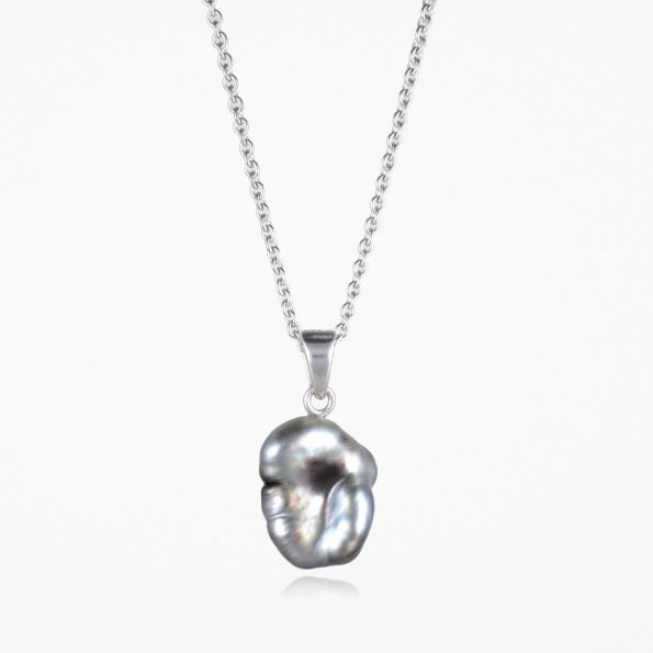Large Black Pearl Necklace #2 Silver