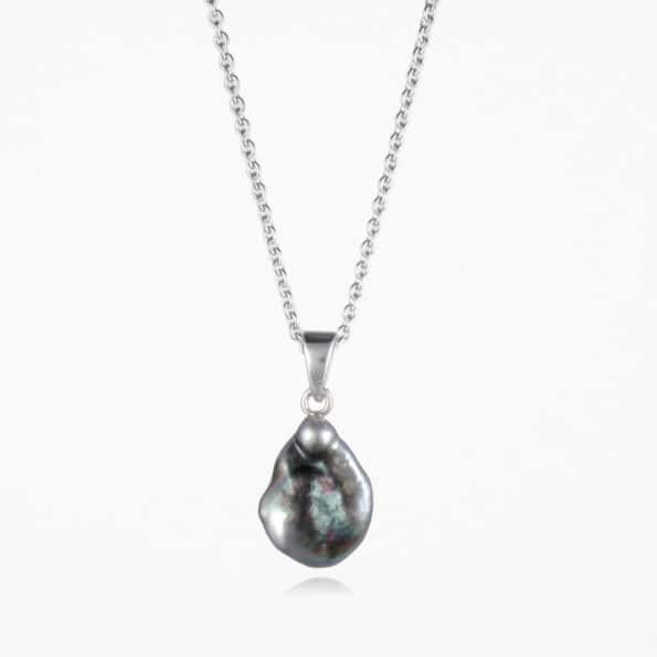 Black Pearl Necklace Silver #2